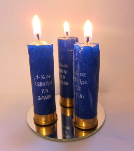 Set of 3 Blue Shotgun Shell Candles with Mirror by ReadyAimCraft, $9.75