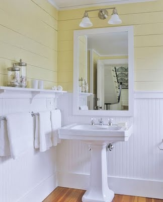 Country white & yellow - love the bead board