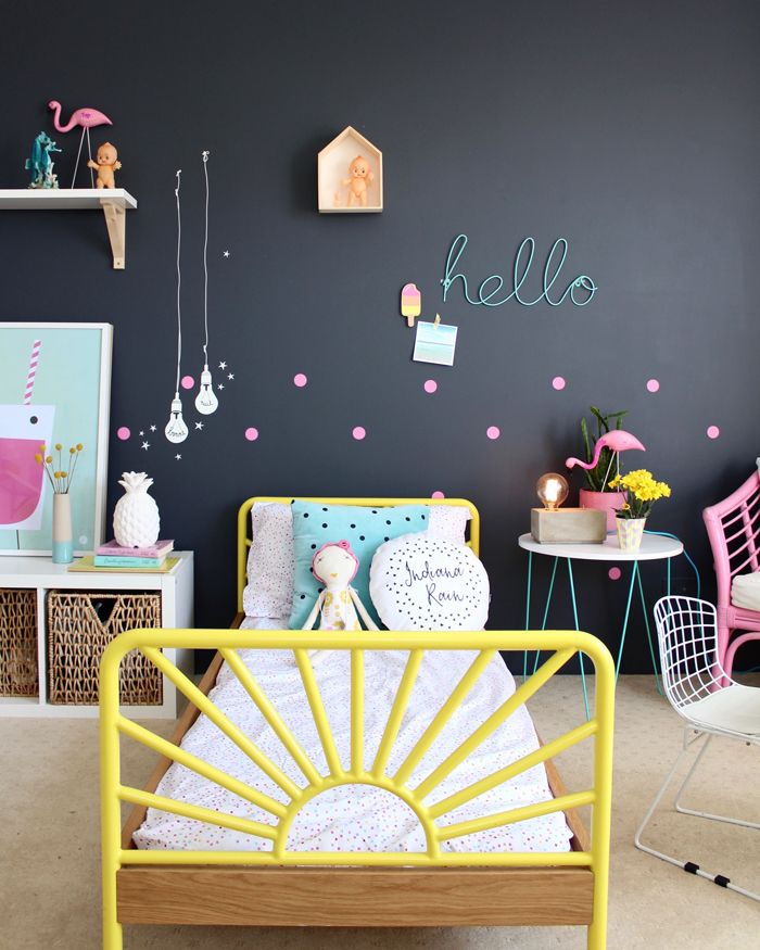 Dark walls can be JUST as much fun! Here're 6 Stunning Kid's Rooms with ark walls: https://petitandsmall.com/six-stunning-kids-rooms-dark-walls/ #kidsroom #kidsroomdecor #petitandsmall