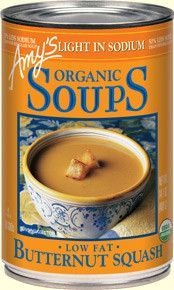 Organic Light in Sodium - Butternut Squash Soup Smooth, mellow blended organic butternut squash... delicious as is or use as a base for your own creations. Ingredients: (Vegan) Filtered water, organic