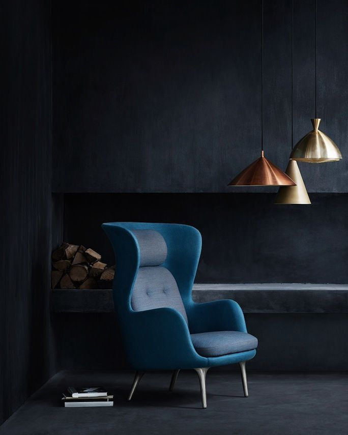 dark blue with copper & brass pendants
