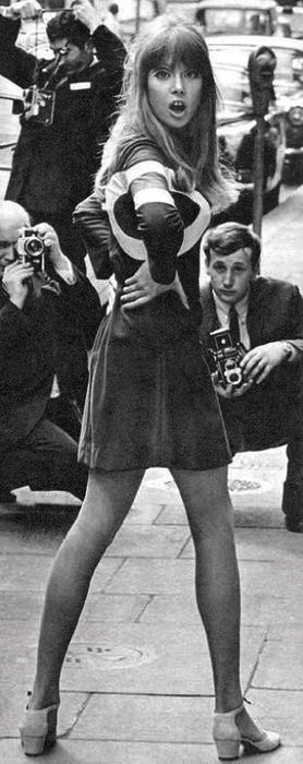 Pattie Boyd the mod dress modeling in the 60s. LOL version apparently.