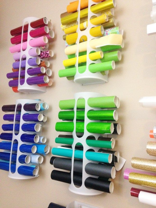 17 Ridiculously Clever Storage Furniture & Ideas For Your Craft Room - Ikea's bag tidy for vinyl
