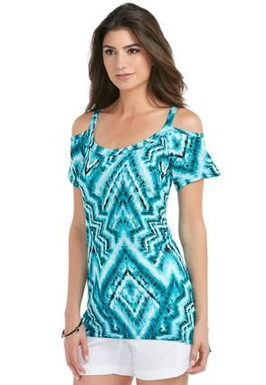 Cato Fashions Asymmetrical Knit Aztec Top #CatoFashions