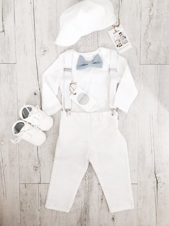 Baby Boy Baptism 100 Cotton Outfit With White Bodysuit