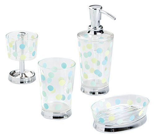 InterDesign 13995C4 Glee Bathroom Accessory Set Soap Dispenser Pump Soap Dish Tumbler Toothbrush Holder  4Piece ClearBlue *** To view further for this item, visit the image link.