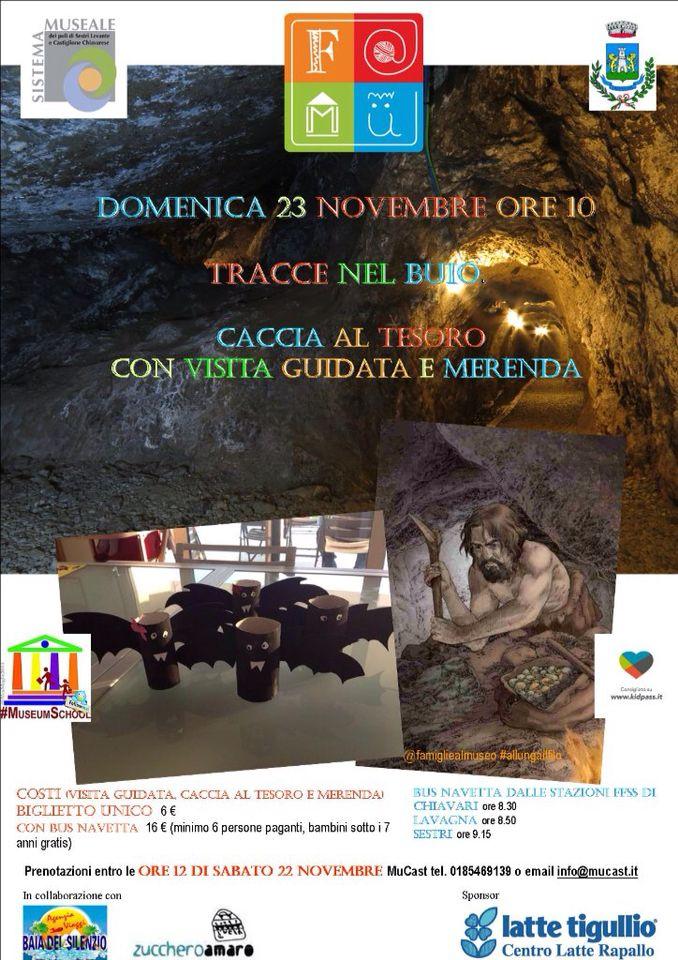 """Domenica 23 novembre recuperiamo! Famiglie al museo con """"tracce nel buio"""": caccia al tesoro, visita guidata e merenda  Tel 0185469139"""
