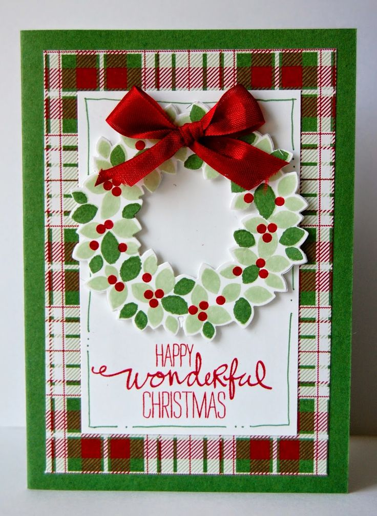 handmade Christmas card by UK Independent Stampin' Up! Demonstrator - Julie Kettlewell ... Wondrous Wreath ... green, red and white ... luv the plaid background paper and the red bow ... lots of layers ... like it!
