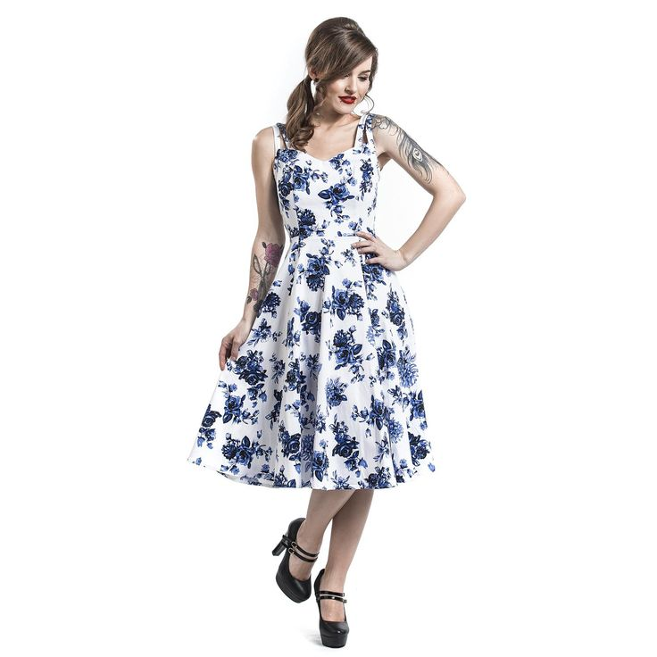 "Abito ""Blue Rosaceae Swing Dress"" del brand #H&RLondon."