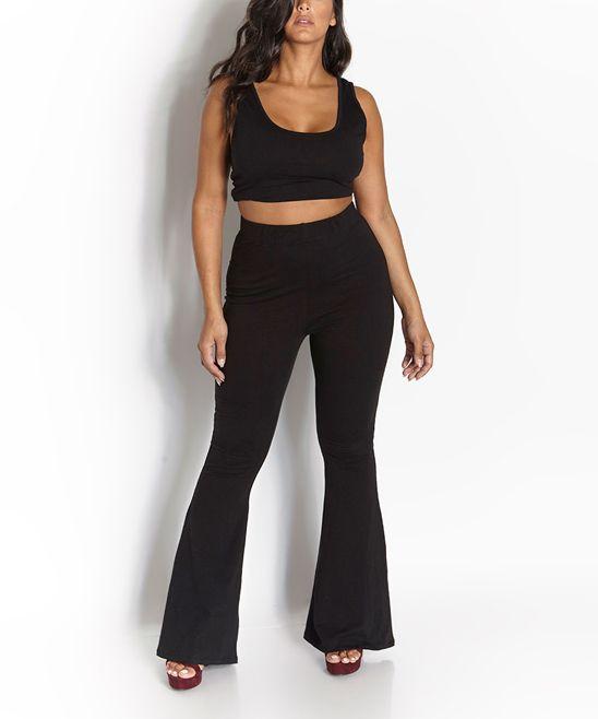 Black Crop Top & High-Waist Flare Pants - Plus Too