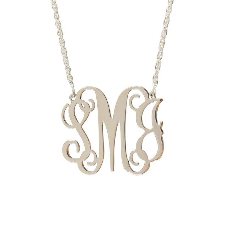 Medium Sterling Silver Interlocking Monogram Filigree Necklace