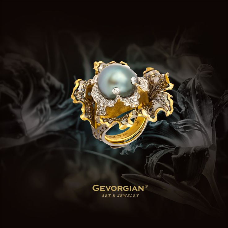 """Ring """"Black Lily"""" by GEVORGIAN. A wonderful double ring shaped like the flower of a black lily was made by an artist of GEVORGIAN® brand. The ring duality symbolizes the image duality. The luxury splendour can be easily changed for the rear beauty of natural black pearls, beloved so much by connoisseurs. And the luxuriant setting will attract the eye even of unsophisticated observer.  www.gevorgian.ru www.facebook.com/Gevorgian.jewelry"""