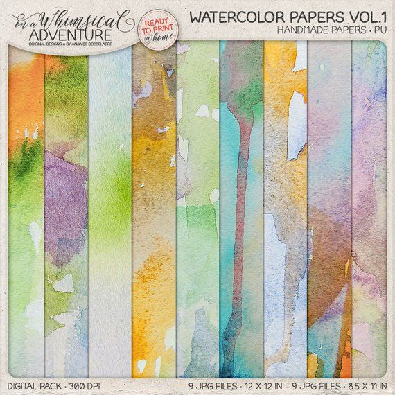 Unique Hand Painted Watercolor Papers Digital Download Printable