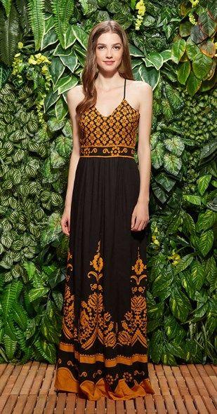 Vestido Longo Jardim Bicolor Antix