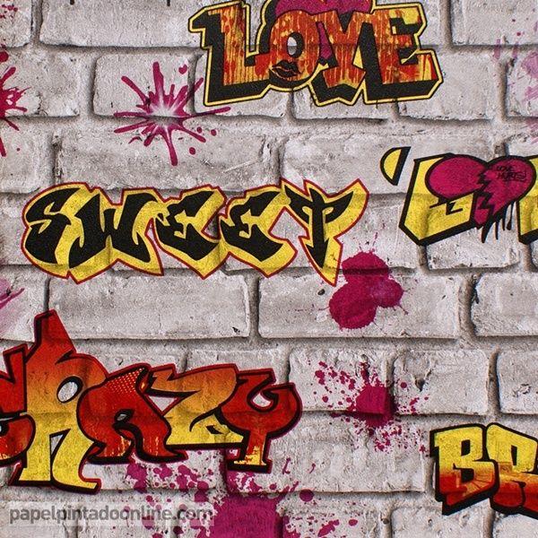 papel pintado graffiti a papel con graffitis en rojo amarillo y naranja sobre fondo
