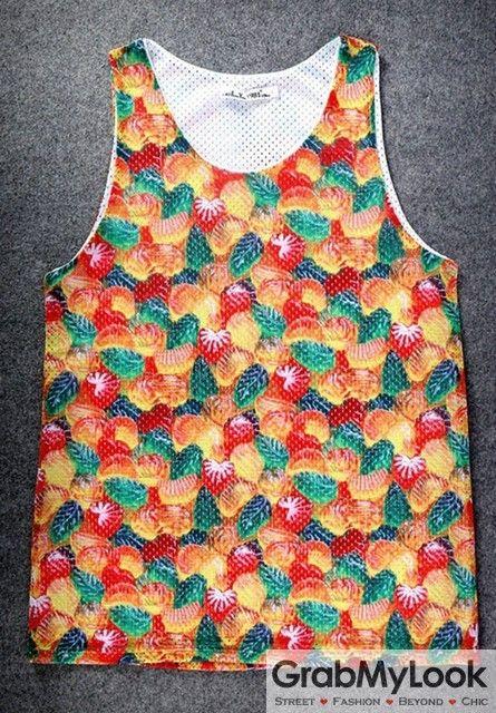 GrabMyLook Colorful Gummies Candies Net Sleeveless Mens T shirt Vest Sports Tank Top