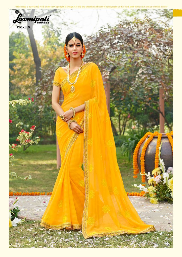 🔎Explore this awesome yellow #chiffon #embroidery stone work #saree and yellow rawsilk blouse along with zari embroidery lace border. #Catalogue-#Zever #Designnumber- Zever 118 #Price -₹ 3083.00 👉Visit Link for More #Designs