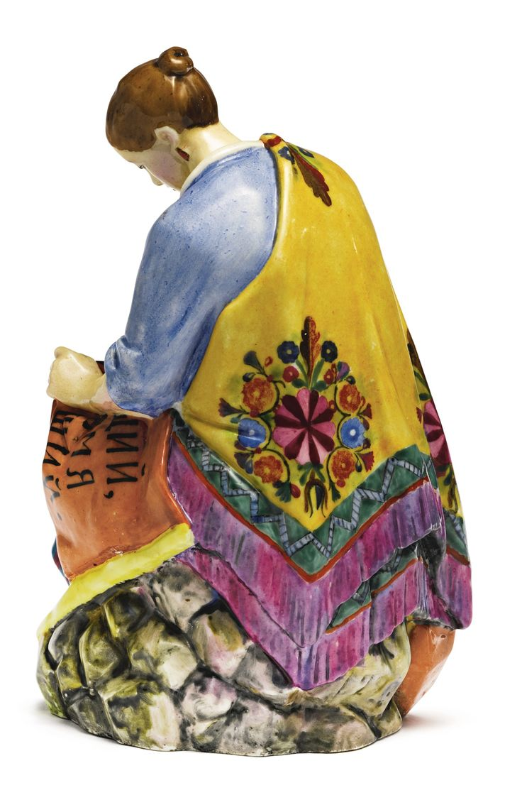 A woman worker sewing a banner, State Porcelain Manufactory, Petrograd, 1921   lot   Sotheby's