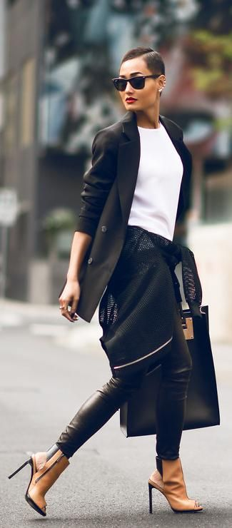 #Kookai leather pants. Black & White with brown Booties. Street Style