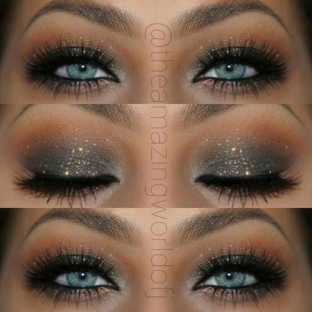 43 Glitzy Nye Makeup Ideas Smokey Eye Makeup Blue Eye Makeup