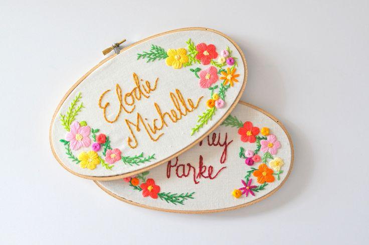 Custom Name Embroidery Hoop. Nursery Decor. Oval Embroidery Hoop. Baby Name Embroidery. Embroidery Hoop Art by KimArt on Etsy https://www.etsy.com/listing/236843008/custom-name-embroidery-hoop-nursery
