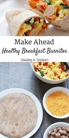 Looking for a healthy breakfast for meal prep? These make ahead breakfast burritos are just what you need! Nutritious and filling, this freezer meal includes veggies for vitamins and minerals as well as eggs and chicken sausage to pack in protein.
