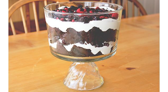 Gluten free chocolate trifle.  Cover top in chocolate custard before the top layer of cream.  And use black cherries to make Black Forest Trifle.