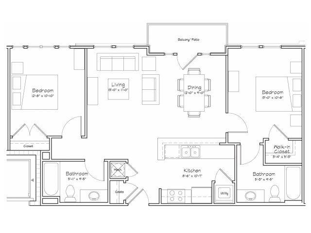 2d floor plan image 1 for the 2 bedroom 2 bathroom 900 for 28x32 floor plan