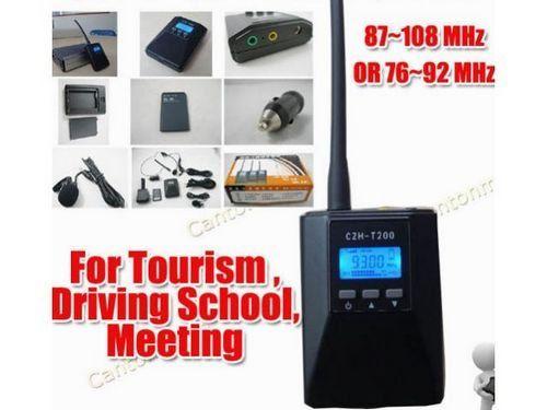 CZH-T200 0.2 W Transmisor de radio FM Portátil radio braodcast Estéreo/Mono Energía ajustable Para Turismo de Reuniones Driving School