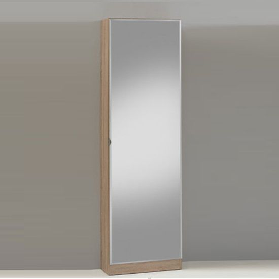 Penny 88 wooden shoe cabinet with full mirror door in oak for Mueble zapatero sodimac