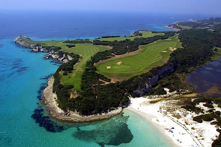 Golf de Sperone, Corsica/France One of my true favourites. Stay in one of the villas at the premises but make sure to visit the amazing city of Bonifazio hanging on top of the cliffs. Spectacular!