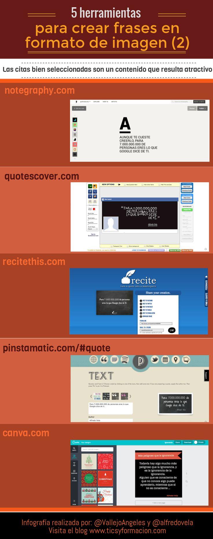 5 herramientas online para crear frases en formato de imagen. Infografía realizada con Piktochart.