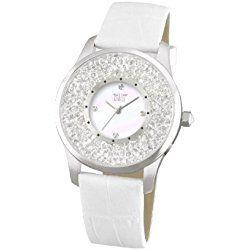 Davis 1781 - Reloj elegante de mujer, cristal strass, esfera de madreperla blanca, correa de piel blanca
