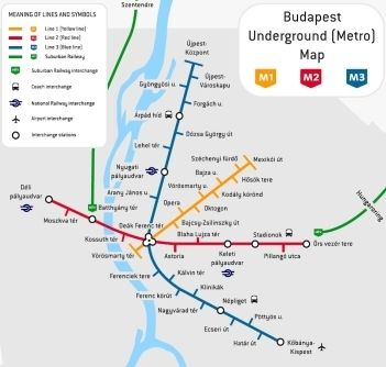 Budapest metro map - I was told to memorize the names on the red and blue lines before I got there. Ha! Yeay, right! It took me a month of being there to pronounce them halfway right!