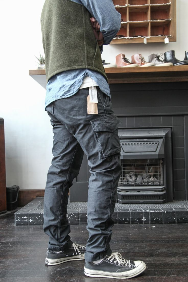 "orSlow – ""One-wash Charcoal Satin"" Cargo Pants - NIFTYDO BLOG"
