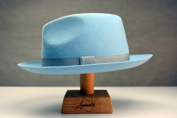 Fedora The Clubman Light Blue Fedora Hat For Men Mens Etsy In 2020 Fedora Hat Men Fadora Hats For Men Mens Hats Fashion
