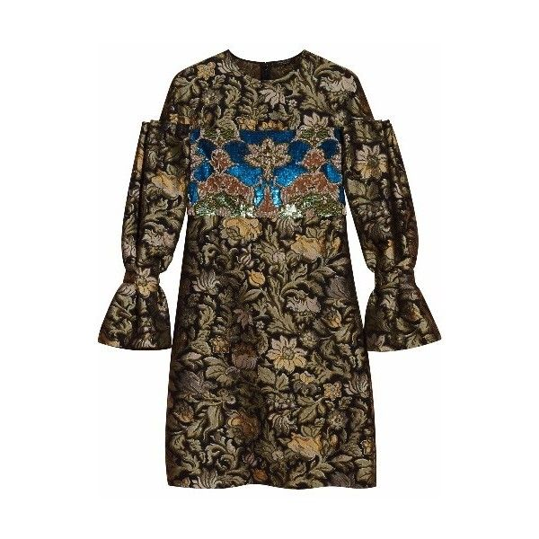 Burberry Floral Tapestry Fil Coupe and Sequin Dress ($3,995) ❤ liked on Polyvore featuring dresses, shift dress, long-sleeve floral dresses, beaded sequin dress, sleeved dresses and ruched dress