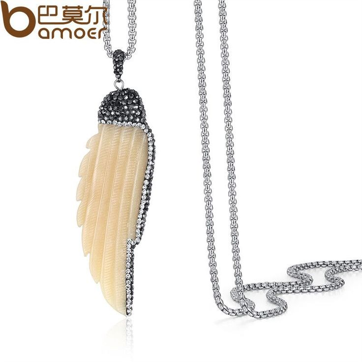 BAMOER Necklace Jewelry For Women Good Quality Chain Necklace Natural Camel Bone Sweater Women Necklace New Trendy NSN012-YE