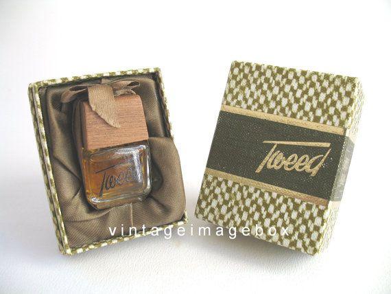 Mum's present.  TWEED by LENTHERIC Vintage mini parfum, miniature perfume bottle, boxed, c 1970's, by VintageImageBox on Etsy,