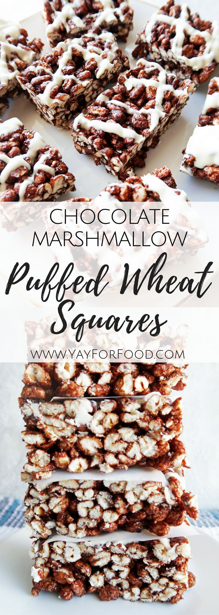 Try these no-bake soft and chewy chocolate marshmallow puffed wheat squares with white chocolate drizzle. Make it in 10 minutes with only 7 ingredients! {Recipe video link} quick | easy | desserts