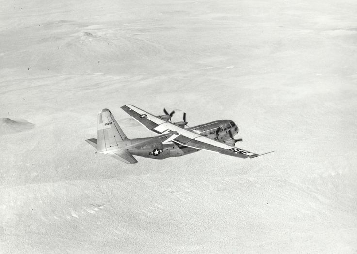 The C-130 celebrates 60 years and still going strong - Archived photo of the YC-130 during its ferry flight from Burbank, California, to Edwards Air Force Base August 23, 1954. (U.S. Air Force photo)