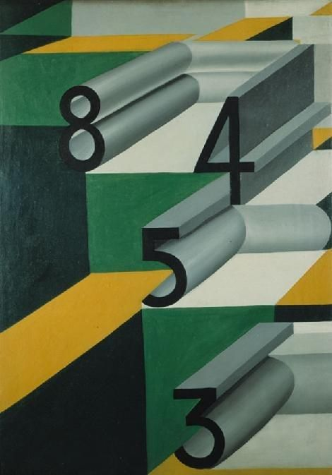 """Numbers in Love,"" 1924, Giacomo Balla (1871-1958) was one of the founding members of the first wave of Futurist painters. By 1914 he was advocating a Futurist lifestyle - naming his 2daughters Propeller and Light.  Gradually giving more value to geometric forms, his style regularly alternated between abstract machine-like constructions and figurative representations."
