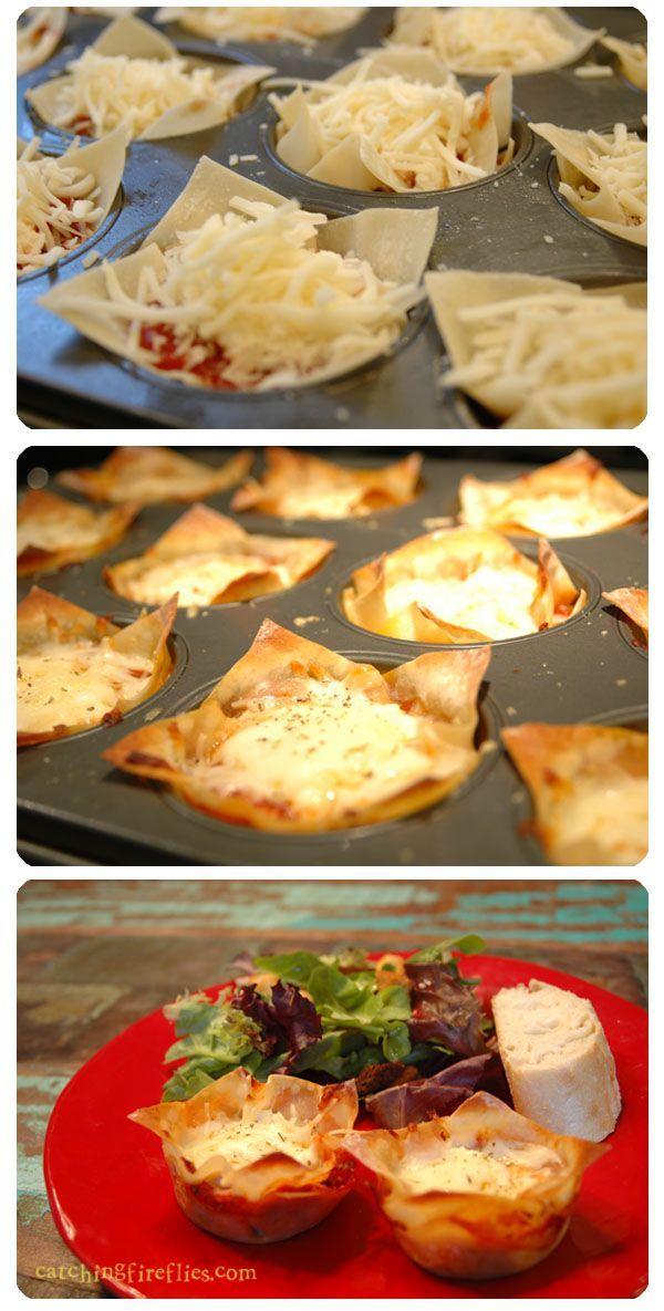 Mini Lasagnas (marinara sauce, ricotta cheese, mozzarella cheese, Parmesan cheese, won ton wraps, Italian seasoning and ground beef/sausage if desired)