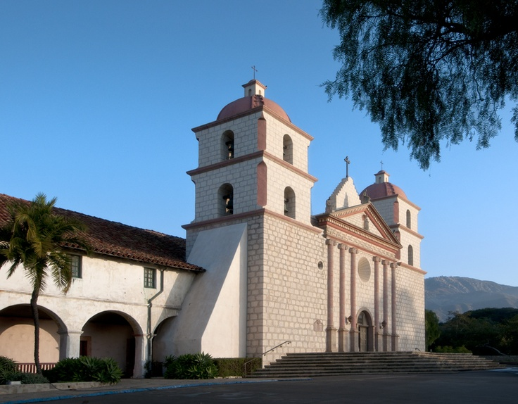 Church Front And Part Of The Portico At Old Mission Santa Barbara California MissionsHistorical ArchitectureThe RoadPlaces