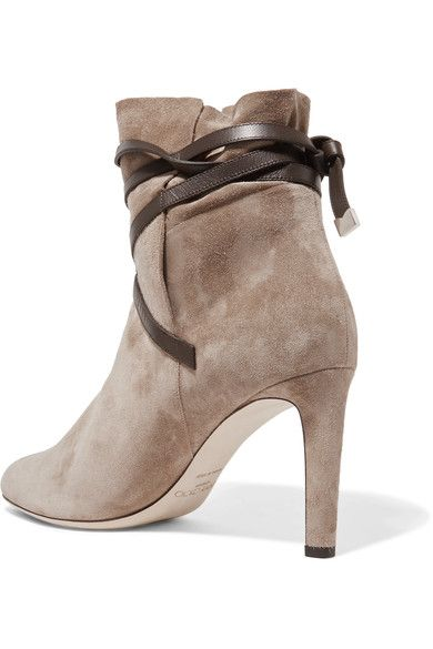 Jimmy Choo - Dalal Leather-trimmed Suede Ankle Boots - Beige - IT