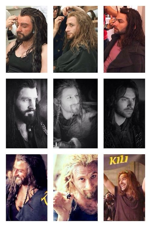 The Hobbit Cast:  • Richard Armitage • Dean O' Gorman • Aidan Turner. I wonder how long that took...