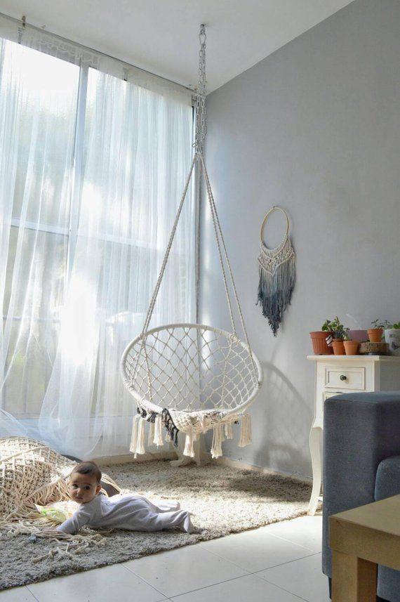 Hamac En Macrame Mcrame Balancelle Boho Hamac Chaise De Hanging Chair Living Room Indoor Hammock Chair Room Swing