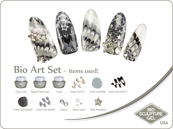 Silver rocks stars art set