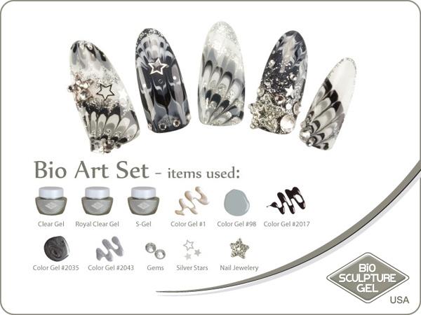 Silver rocks stars art set