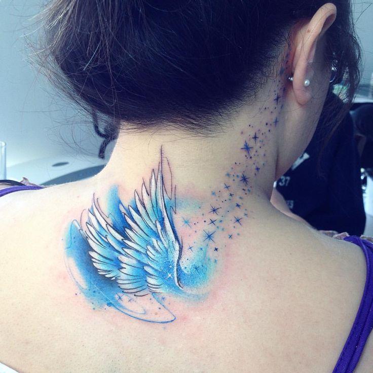 als ab tattoo tatuaje alas angel colors watercolor aquarelle pluma bird ab tattoos